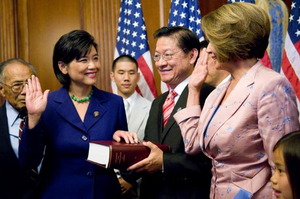 Rep. Chu being sworn into office.